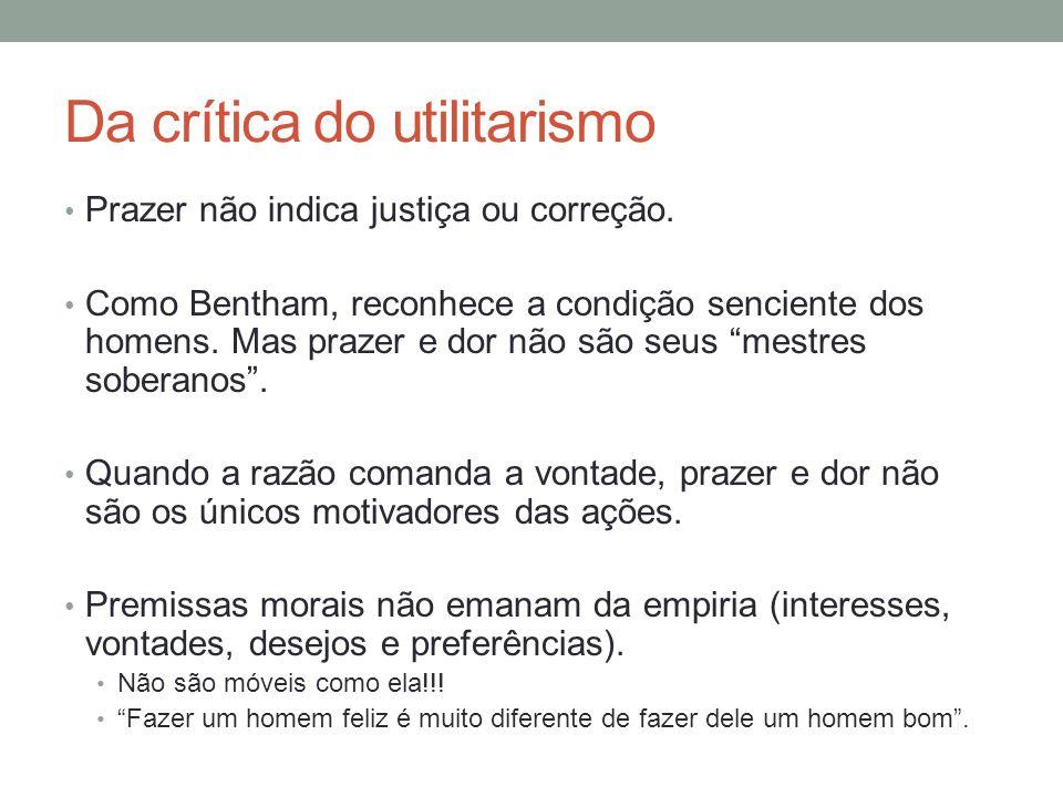 Da crítica do utilitarismo