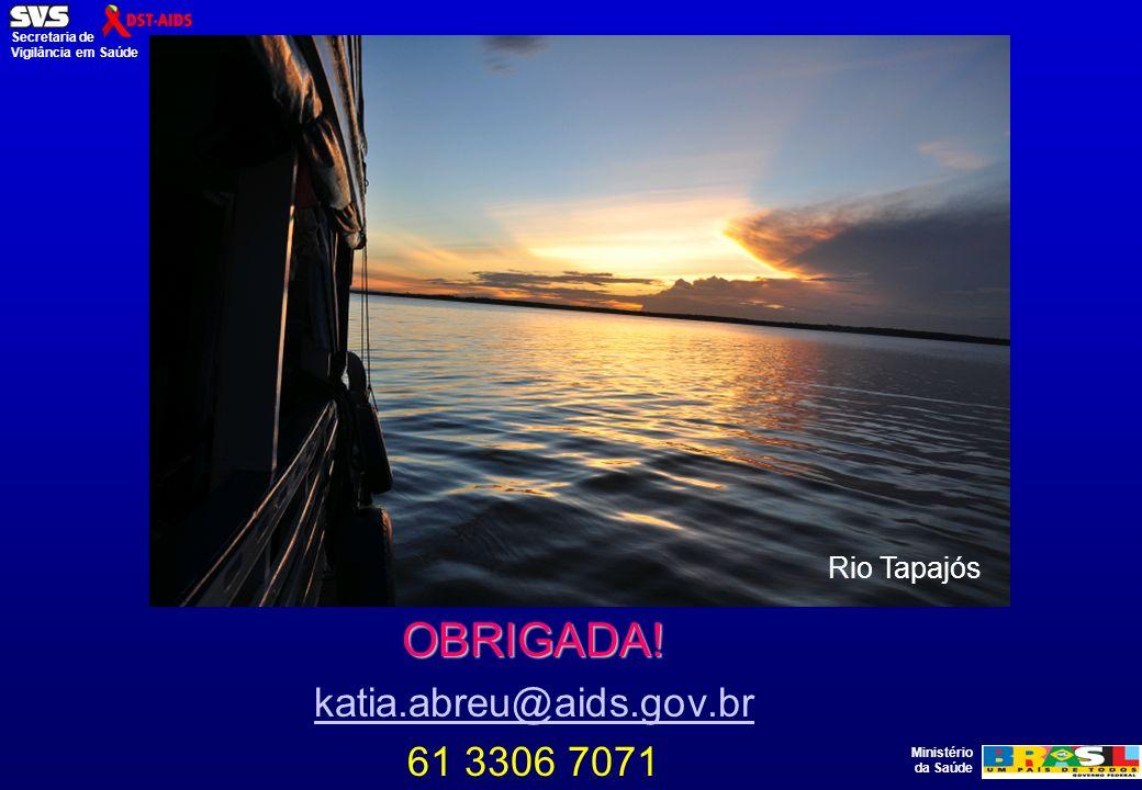 Rio Tapajós OBRIGADA! katia.abreu@aids.gov.br 61 3306 7071