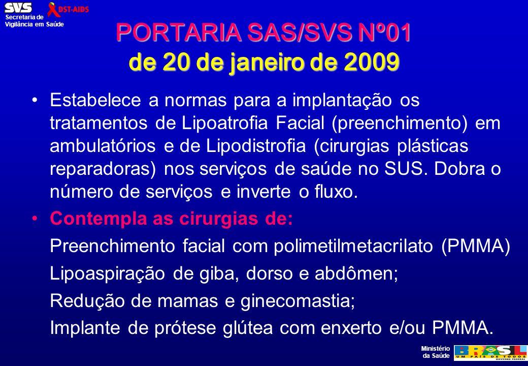 PORTARIA SAS/SVS Nº01 de 20 de janeiro de 2009