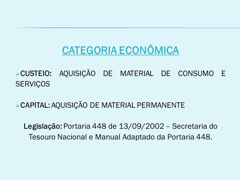 CATEGORIA ECONÔMICA CUSTEIO: AQUISIÇÃO DE MATERIAL DE CONSUMO E SERVIÇOS. CAPITAL: AQUISIÇÃO DE MATERIAL PERMANENTE.