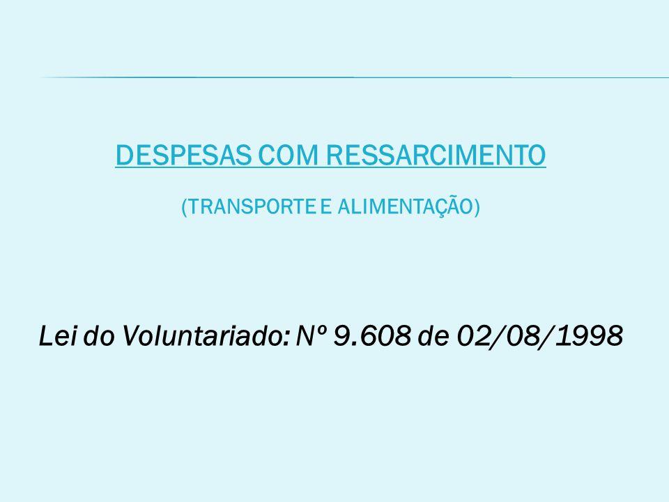 DESPESAS COM RESSARCIMENTO (TRANSPORTE E ALIMENTAÇÃO)
