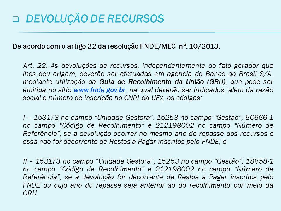 DEVOLUÇÃO DE RECURSOS De acordo com o artigo 22 da resolução FNDE/MEC nº. 10/2013: