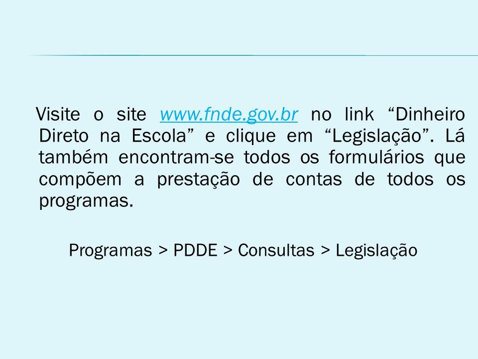 Programas > PDDE > Consultas > Legislação