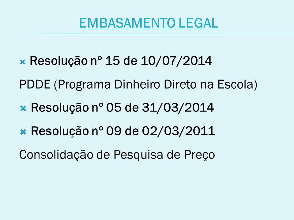 EMBASAMENTO LEGAL PDDE (Programa Dinheiro Direto na Escola)