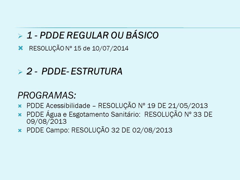 1 - PDDE REGULAR OU BÁSICO RESOLUÇÃO Nº 15 de 10/07/2014