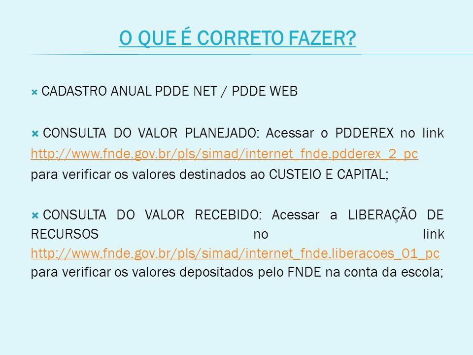 O QUE É CORRETO FAZER CADASTRO ANUAL PDDE NET / PDDE WEB.