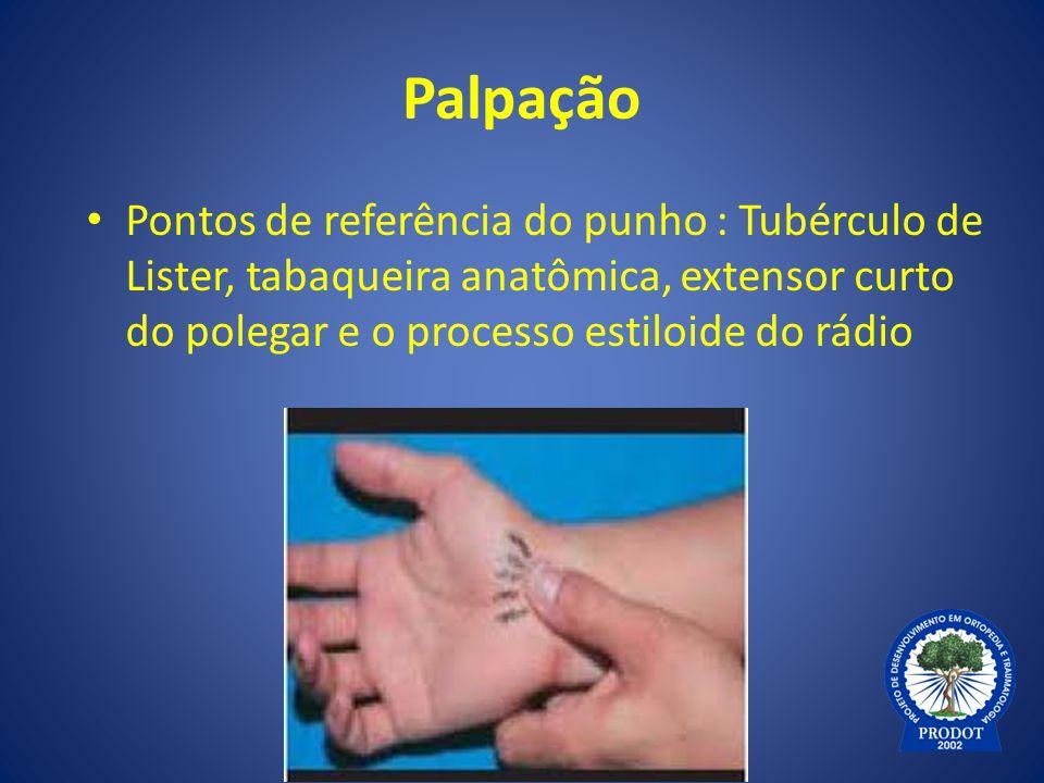 Palpação Pontos de referência do punho : Tubérculo de Lister, tabaqueira anatômica, extensor curto do polegar e o processo estiloide do rádio.