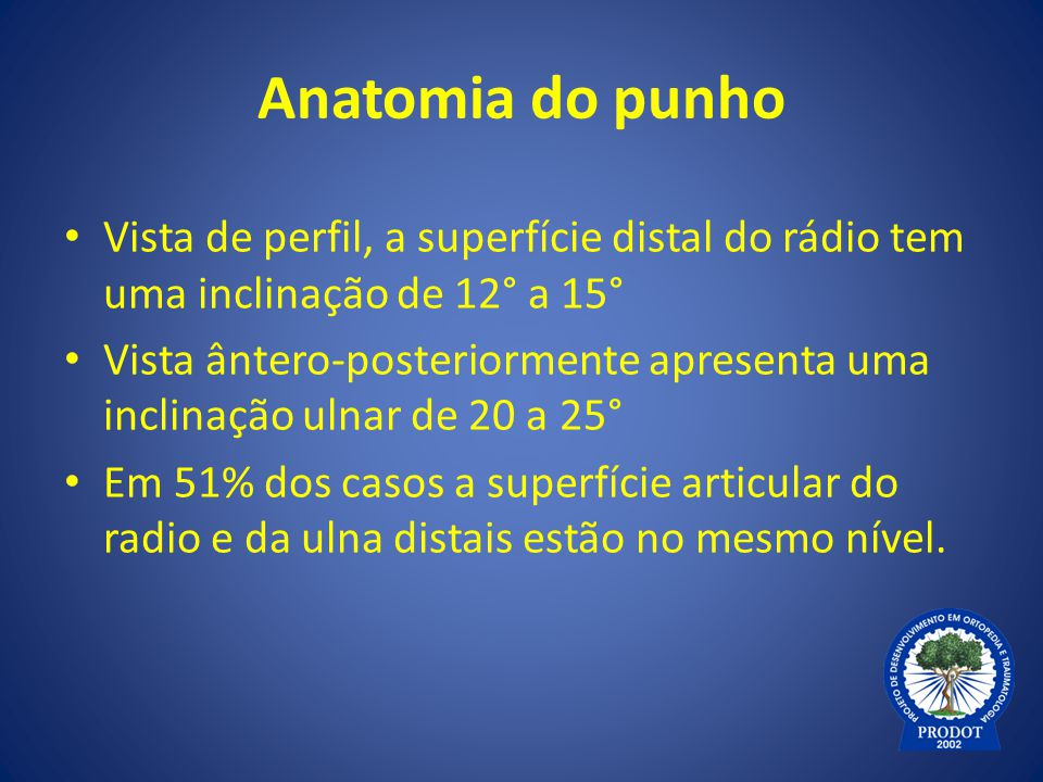 Anatomia do punho Vista de perfil, a superfície distal do rádio tem uma inclinação de 12° a 15°