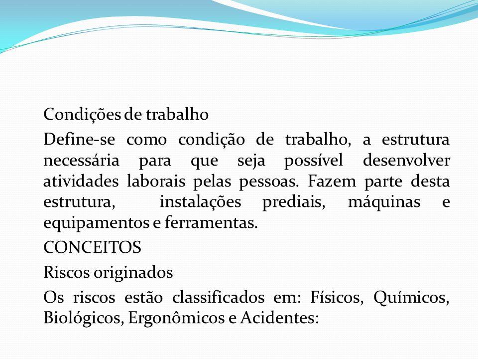 Condições de trabalho Define-se como condição de trabalho, a estrutura necessária para que seja possível desenvolver atividades laborais pelas pessoas.