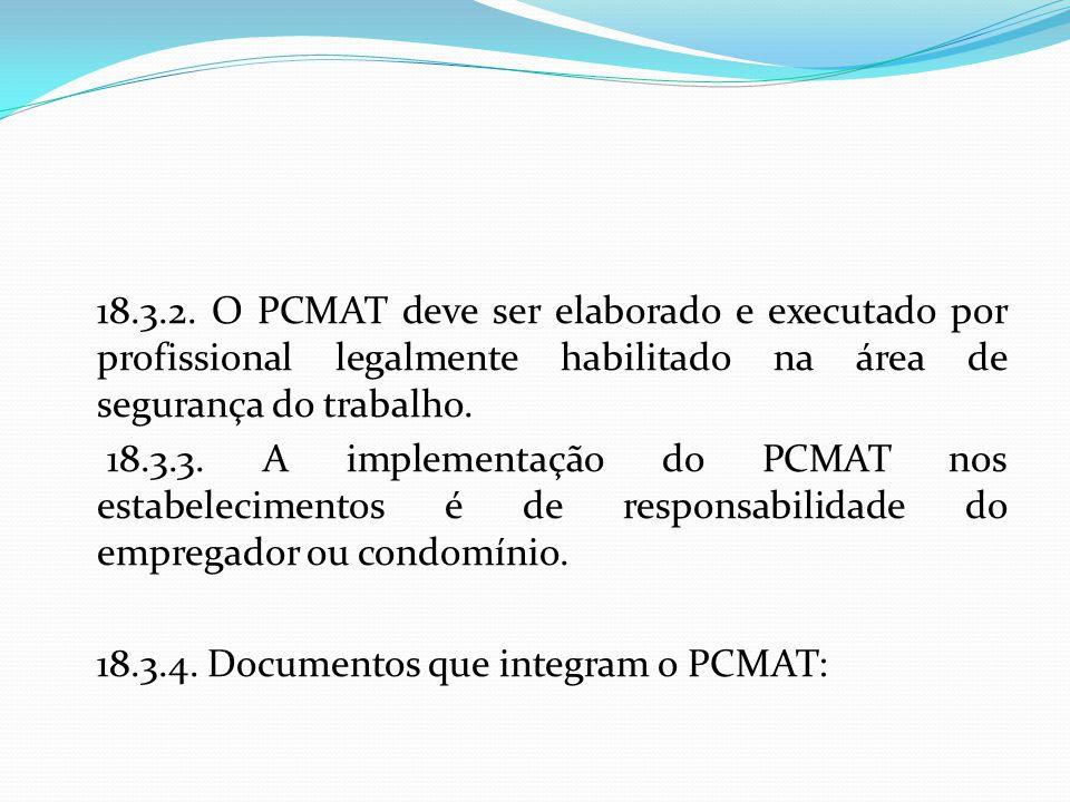 18.3.2. O PCMAT deve ser elaborado e executado por profissional legalmente habilitado na área de segurança do trabalho.