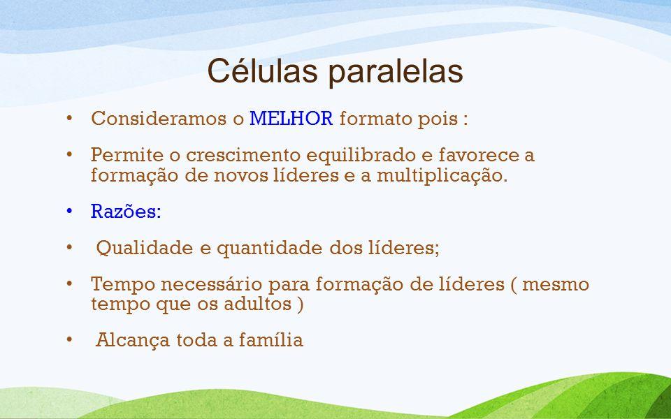 Células paralelas Consideramos o MELHOR formato pois :