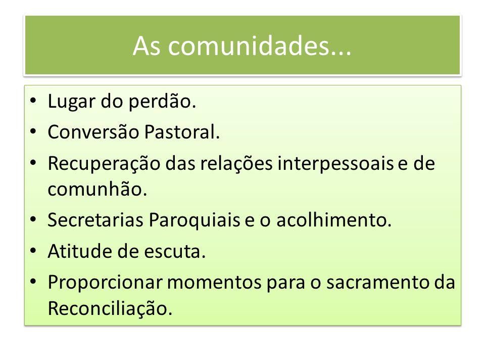 As comunidades... Lugar do perdão. Conversão Pastoral.