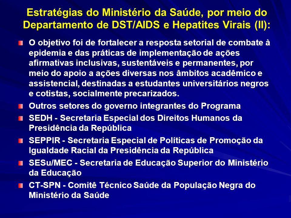 Estratégias do Ministério da Saúde, por meio do Departamento de DST/AIDS e Hepatites Virais (II):