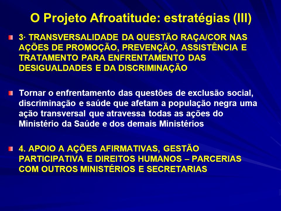 O Projeto Afroatitude: estratégias (III)