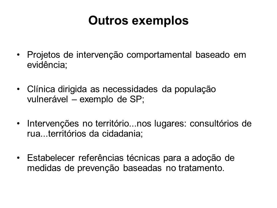 Outros exemplos Projetos de intervenção comportamental baseado em evidência;