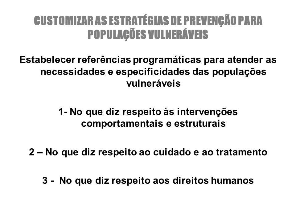 CUSTOMIZAR AS ESTRATÉGIAS DE PREVENÇÃO PARA POPULAÇÕES VULNERÁVEIS