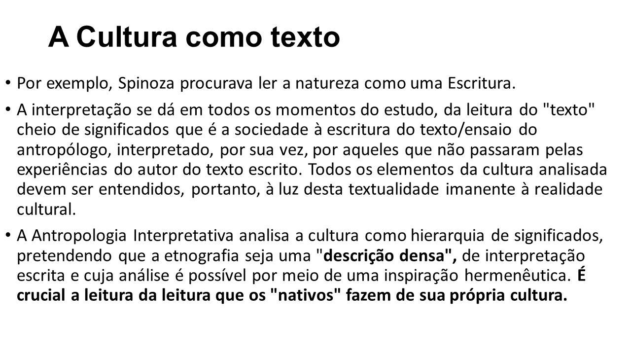 A Cultura como texto Por exemplo, Spinoza procurava ler a natureza como uma Escritura.