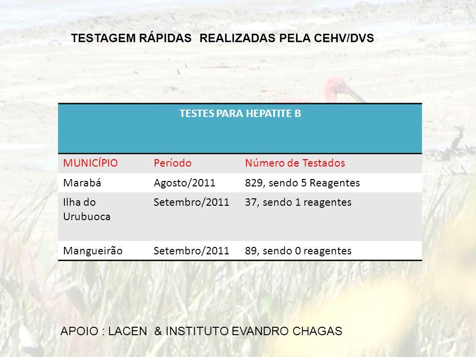 TESTAGEM RÁPIDAS REALIZADAS PELA CEHV/DVS