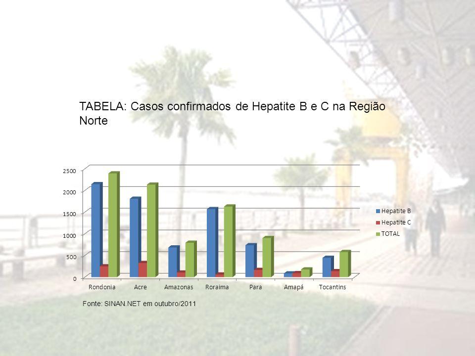 TABELA: Casos confirmados de Hepatite B e C na Região Norte