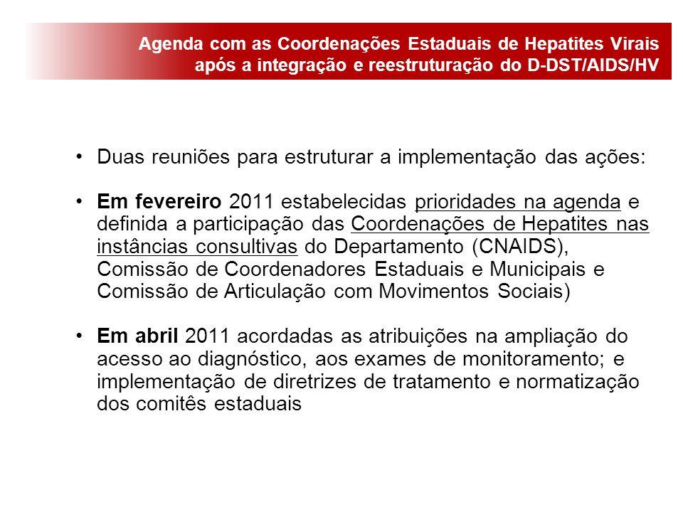Duas reuniões para estruturar a implementação das ações: