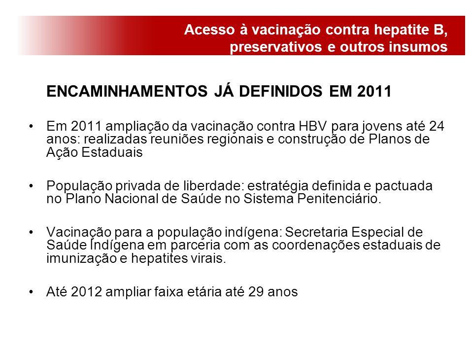 Acesso à vacinação contra hepatite B, preservativos e outros insumos