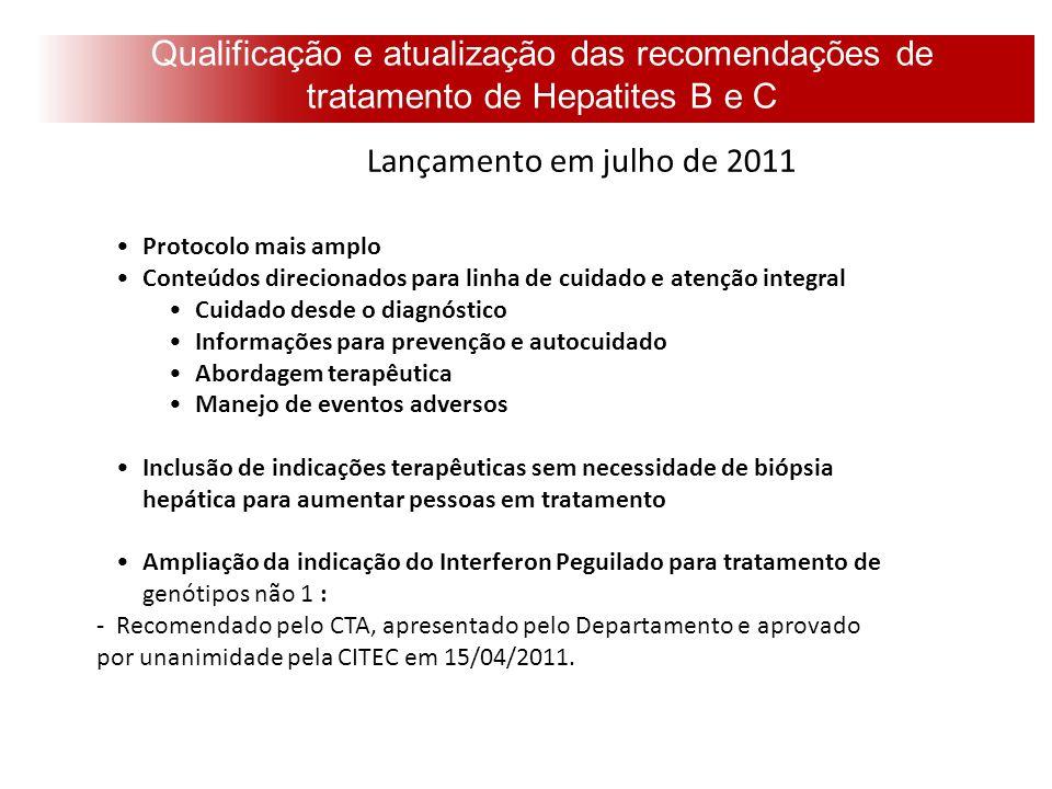 Qualificação e atualização das recomendações de tratamento de Hepatites B e C