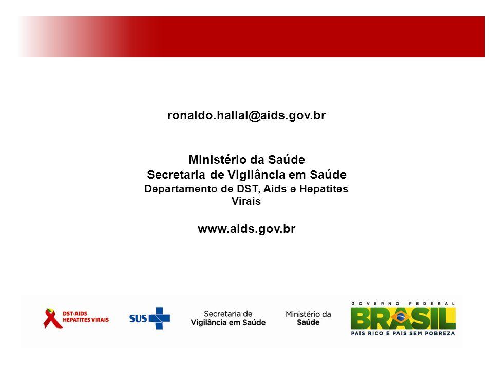 ronaldo.hallal@aids.gov.br Ministério da Saúde Secretaria de Vigilância em Saúde Departamento de DST, Aids e Hepatites Virais.