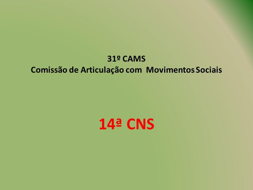31º CAMS Comissão de Articulação com Movimentos Sociais