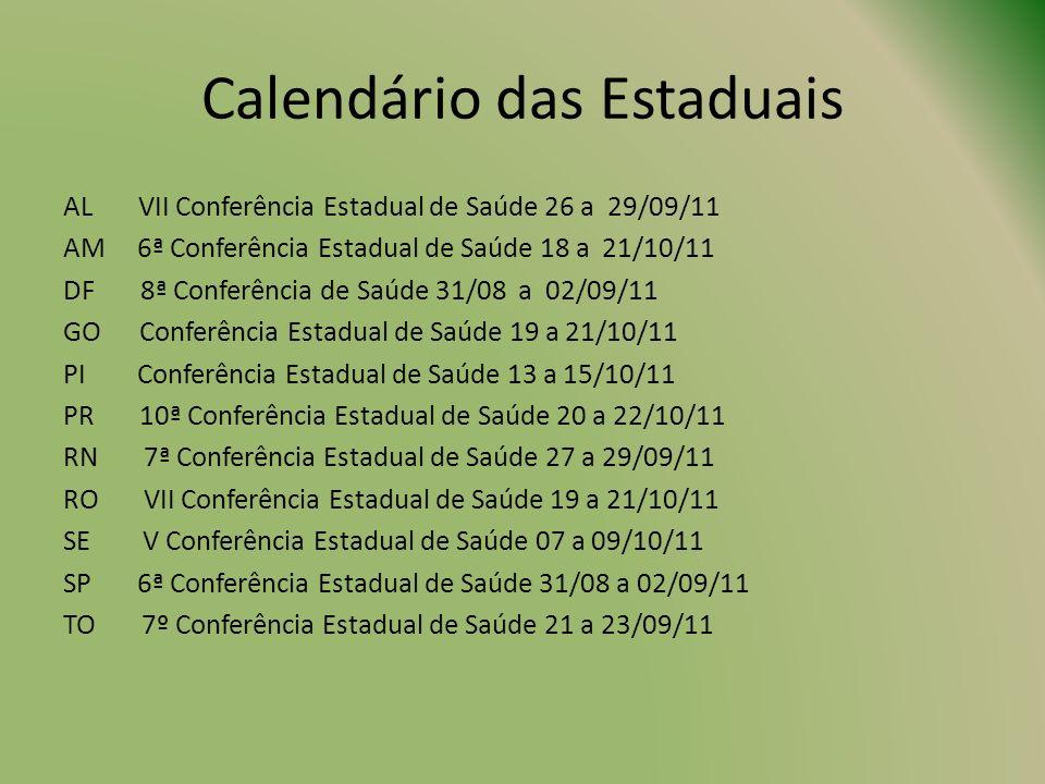 Calendário das Estaduais