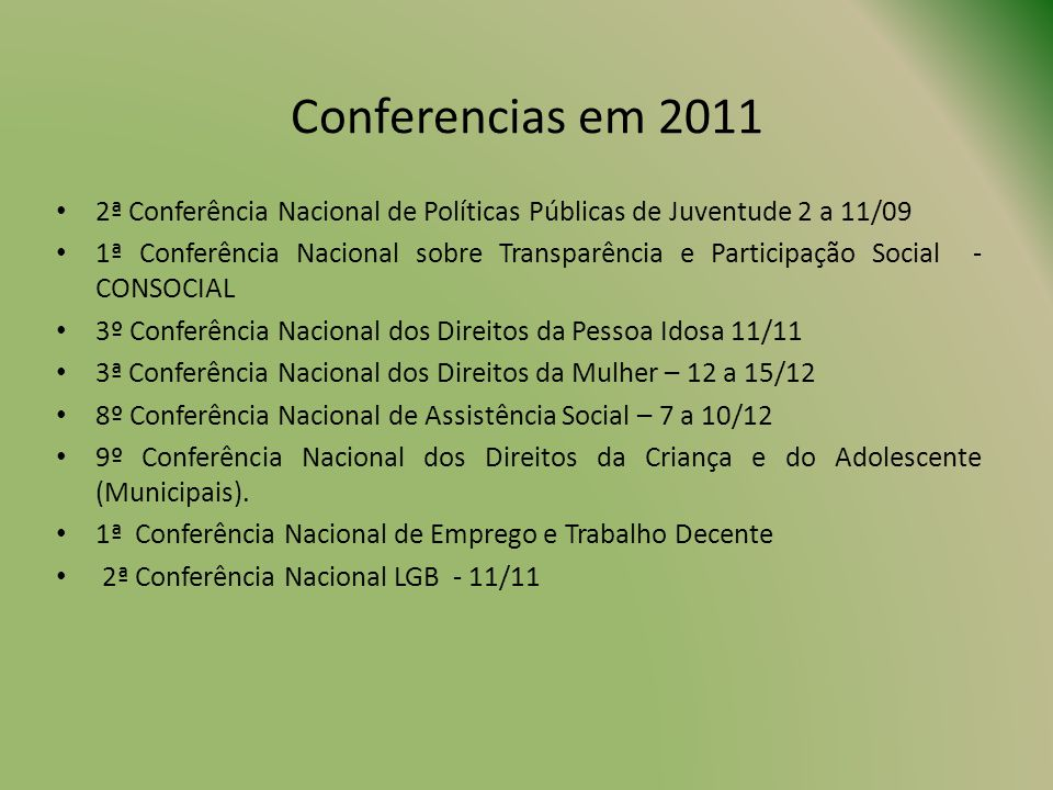Conferencias em 2011 2ª Conferência Nacional de Políticas Públicas de Juventude 2 a 11/09.