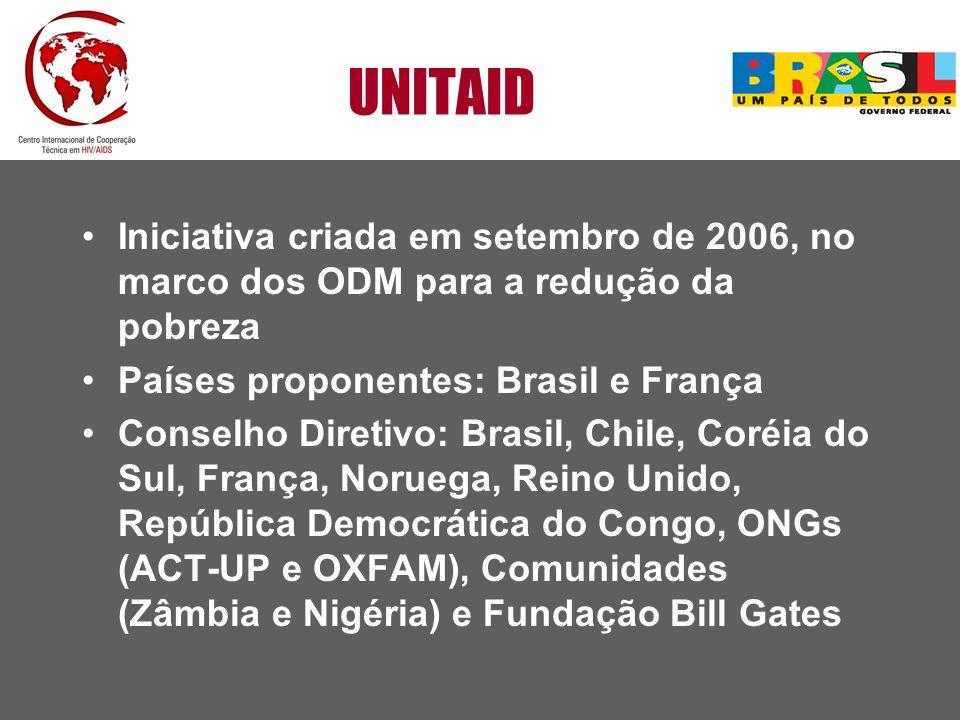UNITAID Iniciativa criada em setembro de 2006, no marco dos ODM para a redução da pobreza. Países proponentes: Brasil e França.