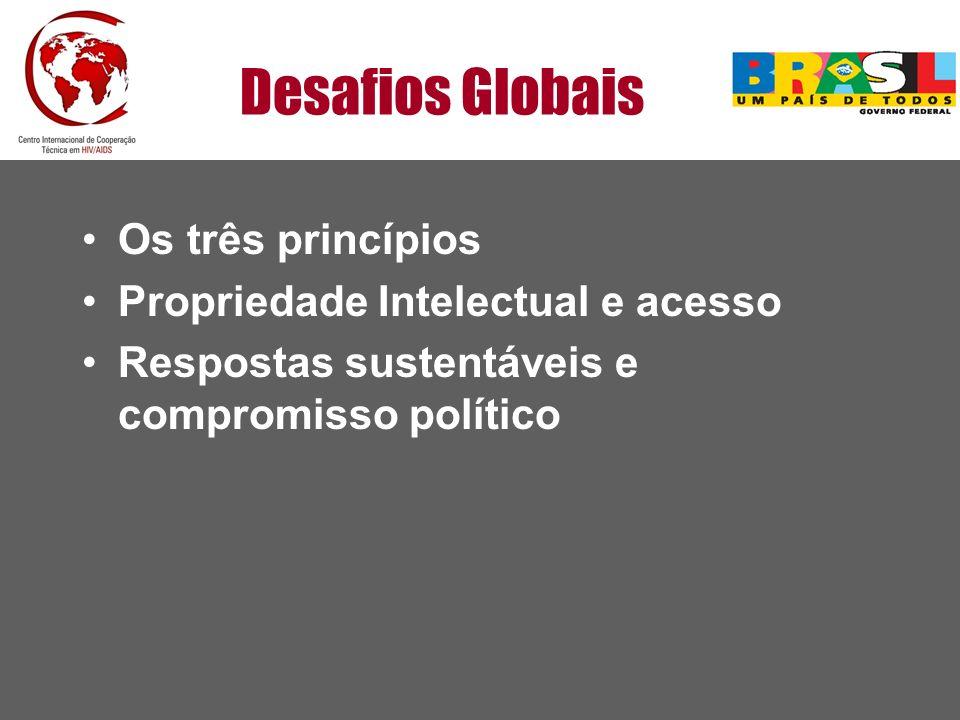 Desafios Globais Os três princípios Propriedade Intelectual e acesso