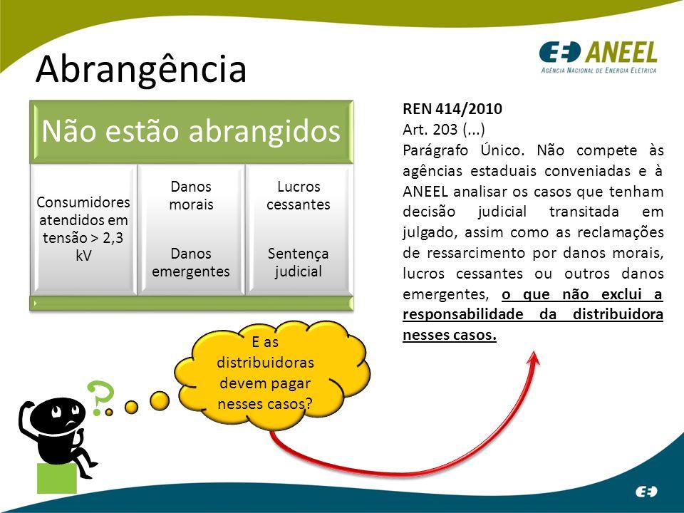 Abrangência Não estão abrangidos REN 414/2010 Art. 203 (...)