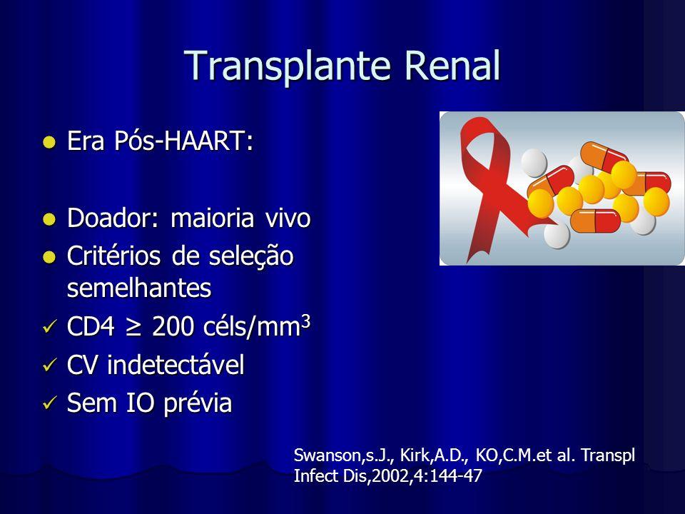 Transplante Renal Era Pós-HAART: Doador: maioria vivo