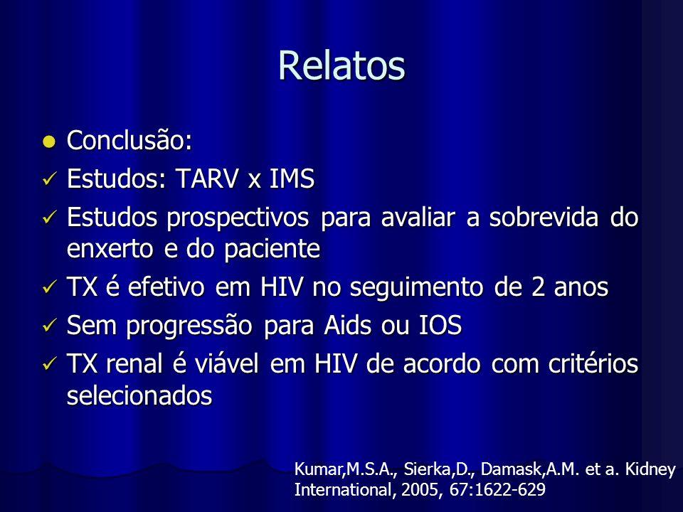 Relatos Conclusão: Estudos: TARV x IMS