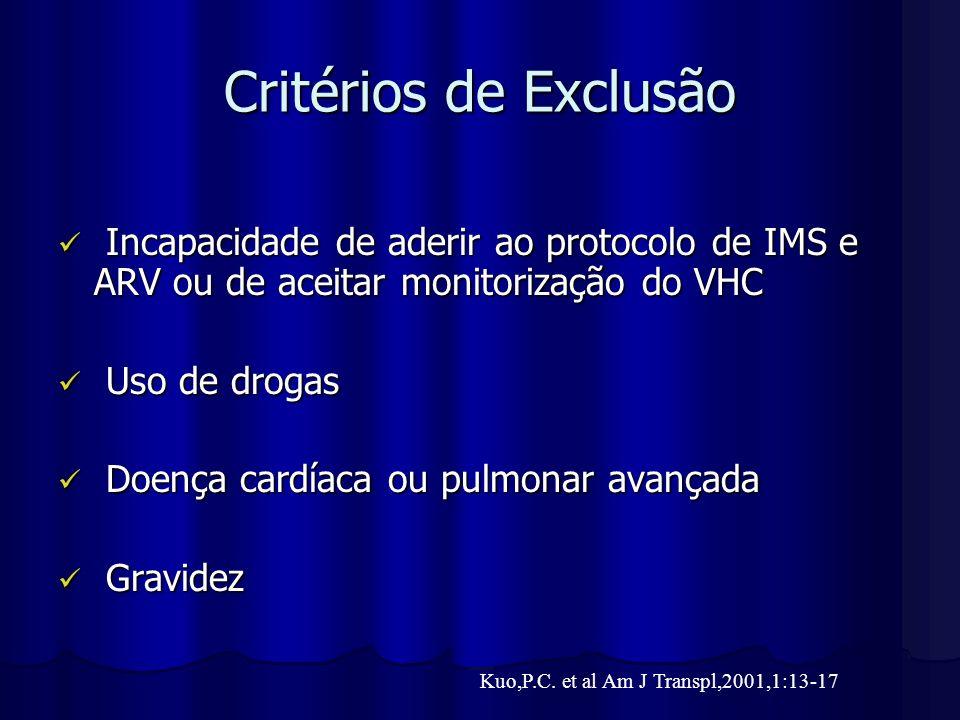 Critérios de Exclusão Incapacidade de aderir ao protocolo de IMS e ARV ou de aceitar monitorização do VHC.