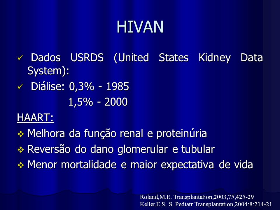 HIVAN Dados USRDS (United States Kidney Data System):