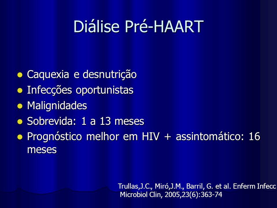 Diálise Pré-HAART Caquexia e desnutrição Infecções oportunistas
