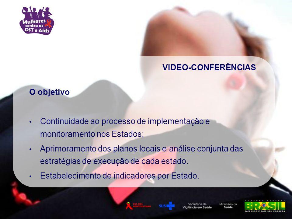 VIDEO-CONFERÊNCIAS O objetivo. Continuidade ao processo de implementação e monitoramento nos Estados;