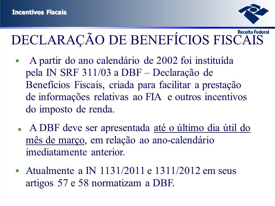 DECLARAÇÃO DE BENEFÍCIOS FISCAIS