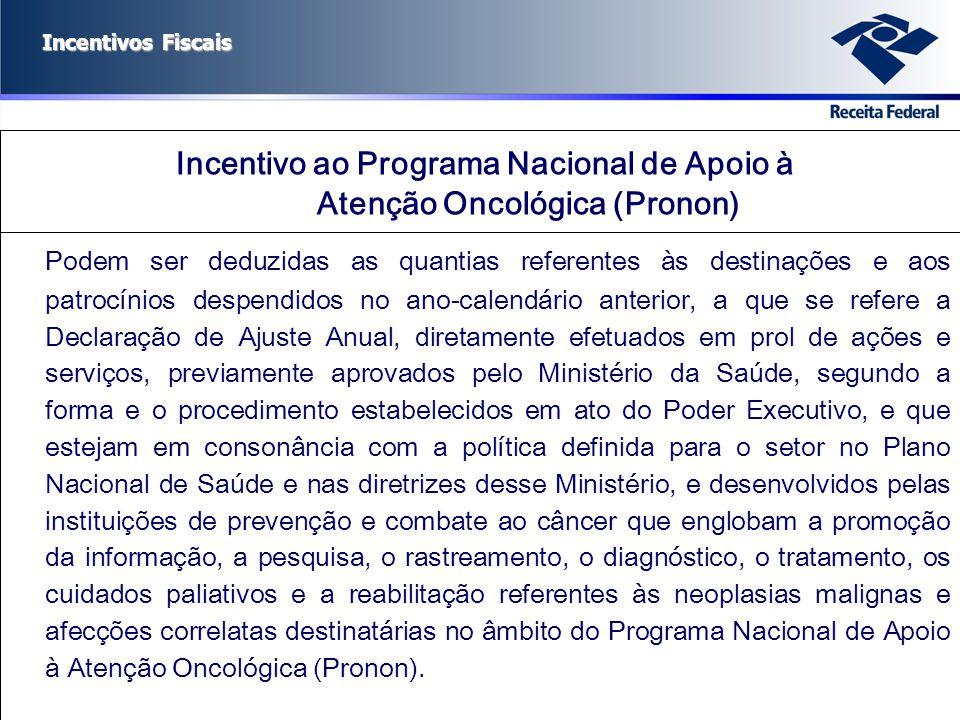 Incentivo ao Programa Nacional de Apoio à Atenção Oncológica (Pronon)