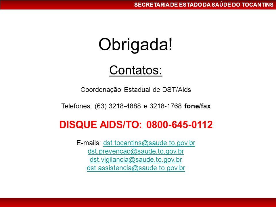 Obrigada! Contatos: DISQUE AIDS/TO: 0800-645-0112