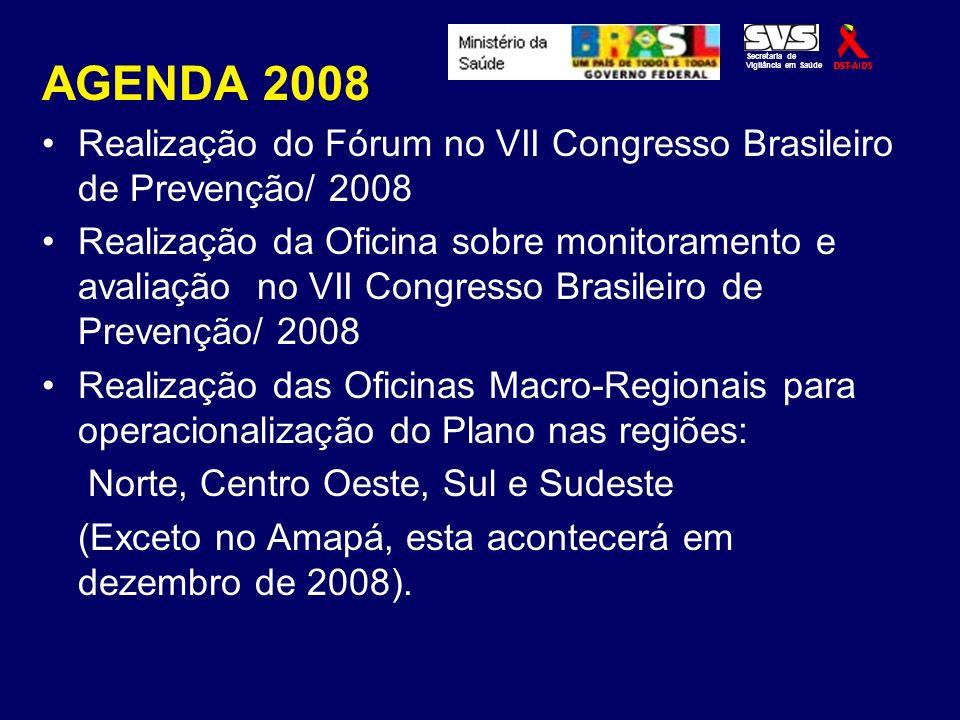 Secretaria de Vigilância em Saúde. AGENDA 2008. Realização do Fórum no VII Congresso Brasileiro de Prevenção/ 2008.