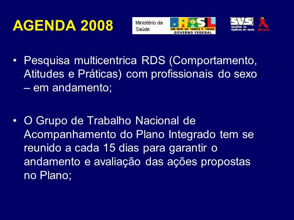 AGENDA 2008 Pesquisa multicentrica RDS (Comportamento, Atitudes e Práticas) com profissionais do sexo – em andamento;