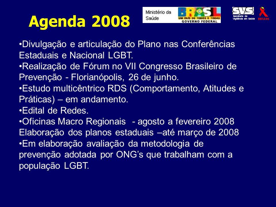 Secretaria de Vigilância em Saúde. Agenda 2008. Divulgação e articulação do Plano nas Conferências Estaduais e Nacional LGBT.