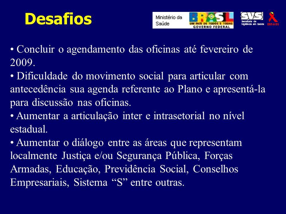 Desafios Concluir o agendamento das oficinas até fevereiro de 2009.