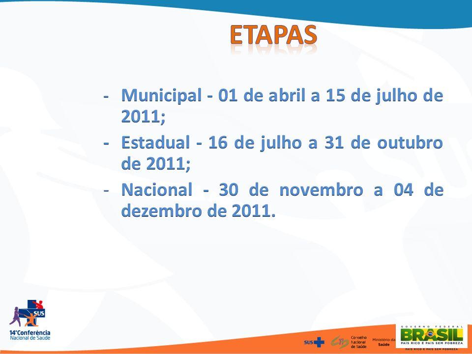 Etapas - Estadual - 16 de julho a 31 de outubro de 2011;
