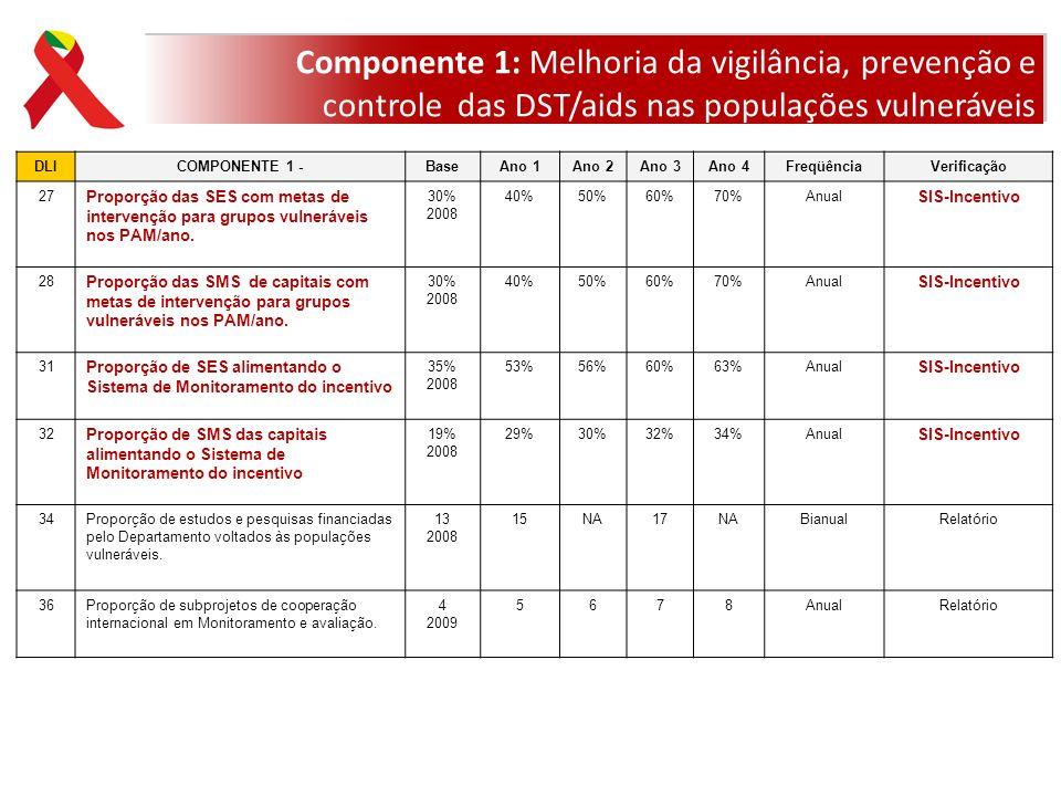 Componente 1: Melhoria da vigilância, prevenção e controle das DST/aids nas populações vulneráveis
