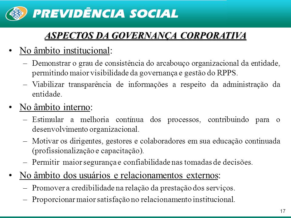 ASPECTOS DA GOVERNANÇA CORPORATIVA