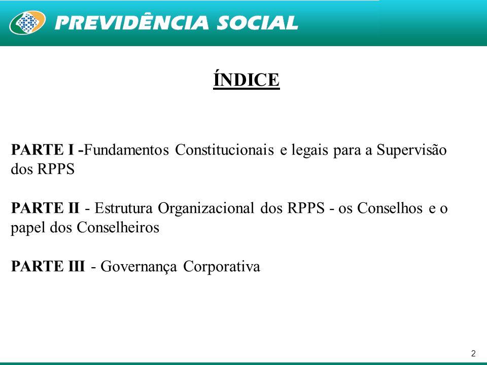 ÍNDICE PARTE I -Fundamentos Constitucionais e legais para a Supervisão dos RPPS.
